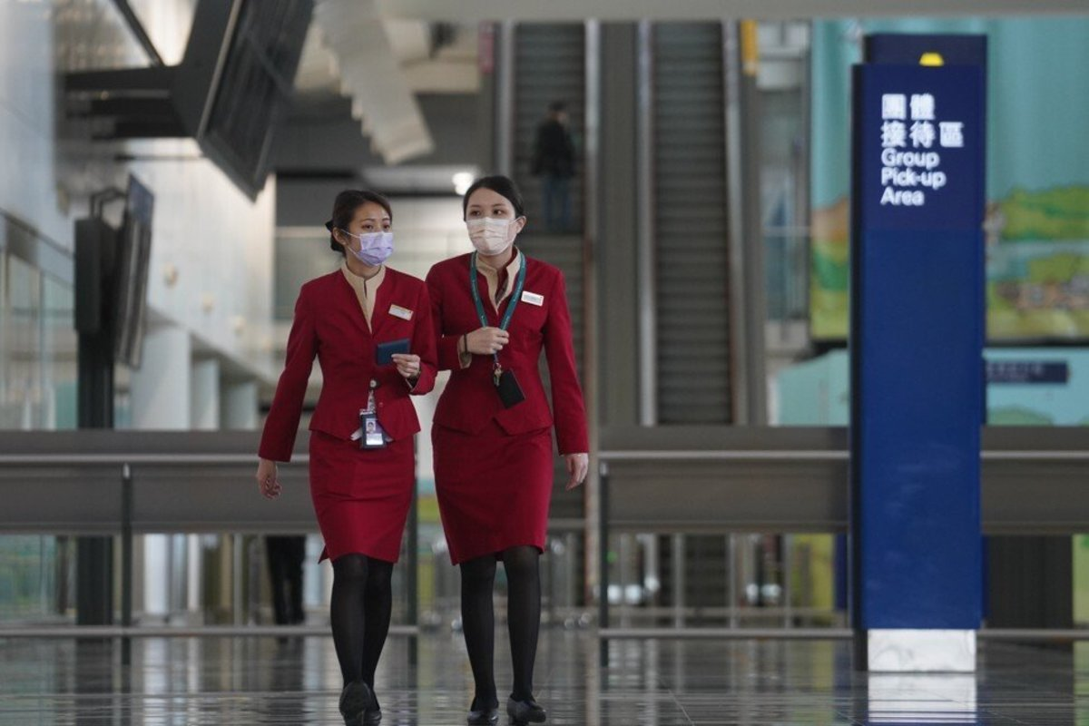Cathay Pacific ground support staff at the Hong Kong International Airport. Photo: Winson Wong