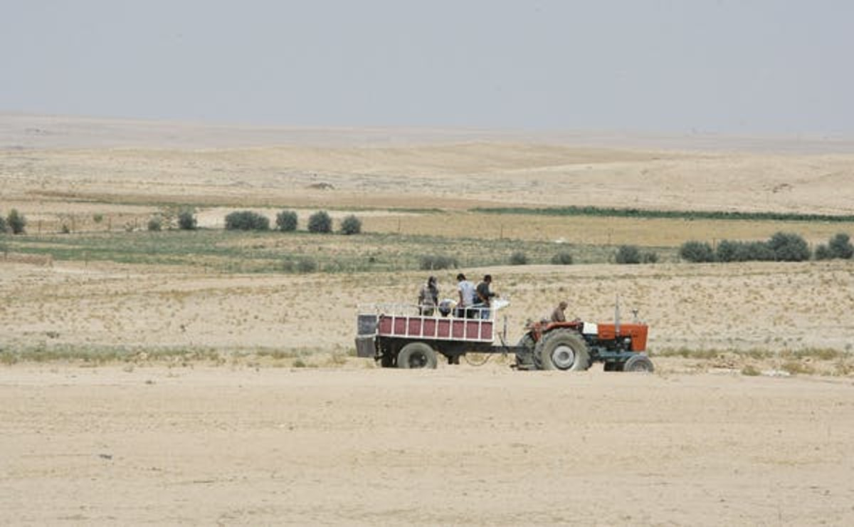 Farmers ride in a tractor in the drought-hit region of Hasaka, Syria, in 2010. Louai Beshara/AFP via Getty Images