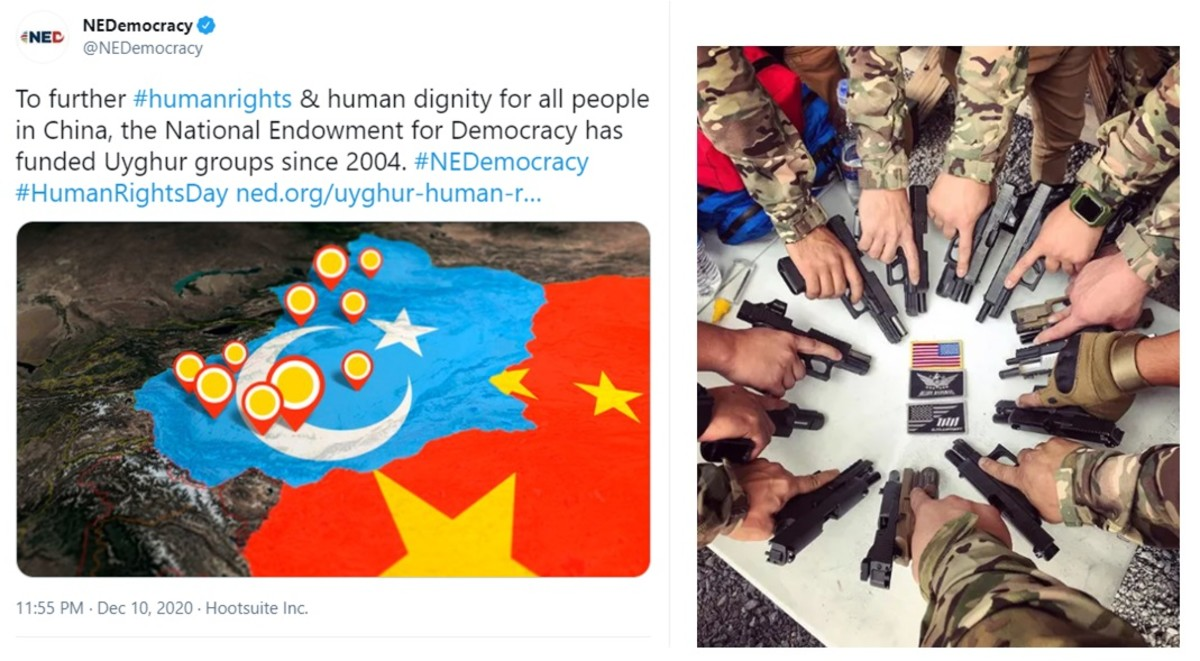 """Sources: Screen captures of NED tweet showing """"East Turkestan"""" as separated from mainland China; Altay Defense (Instagram 2020)"""