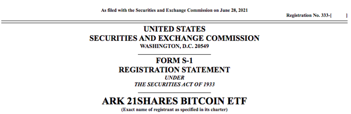 ARK 21Shares Bitcoin ETF filing