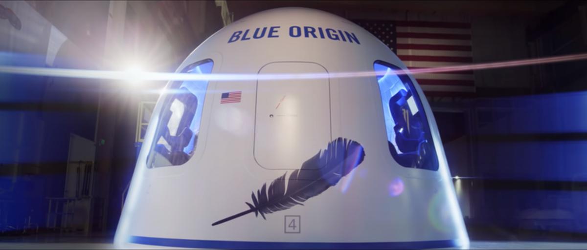 Blue Origin's New Shepard capsule. Blue Origin