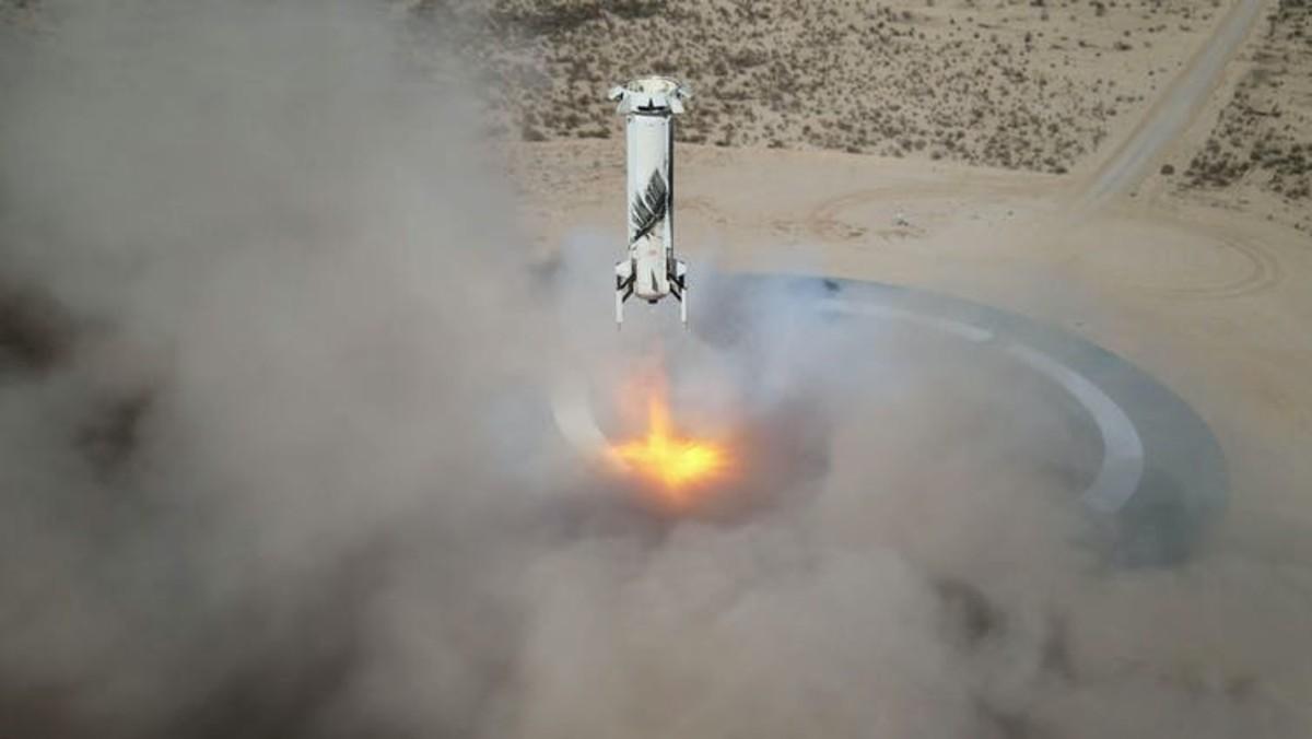 New Shepard Booster landing after an uncrewed test flight. Blue Origin