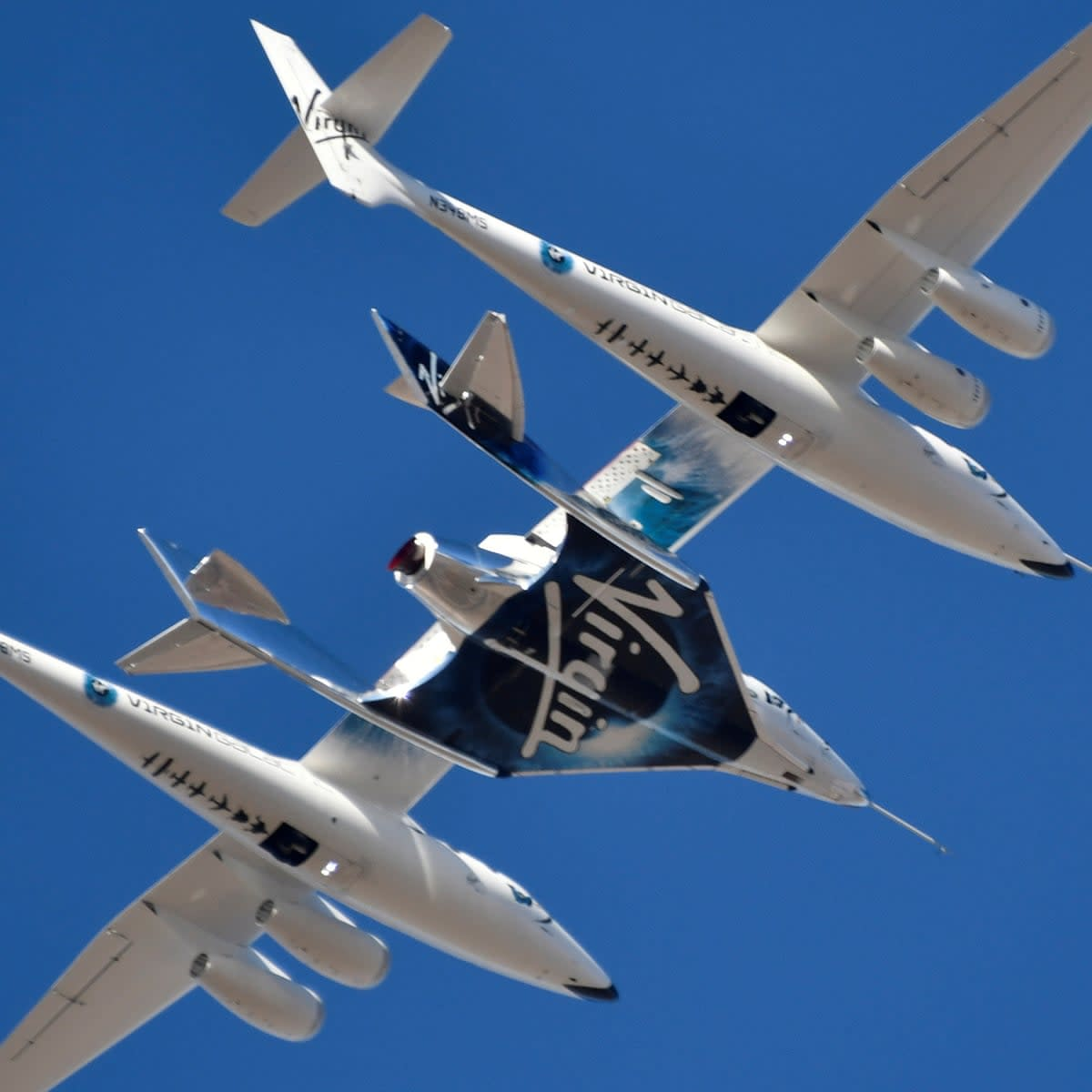Figure 1:The Virgin Galactic rocket plane, the WhiteKnightTwo carrier airplane, with SpaceShipTwo passenger craft takes off from Mojave Air and Space Port in Mojave, California.