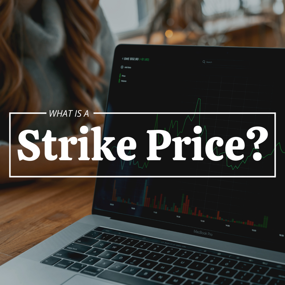 """Photo of a laptop computer with a financial security graph displayed on the screen; text overlay reads """"What Is a Strike Price?"""""""