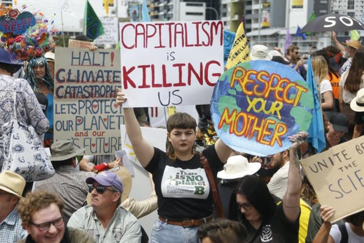 'Capitalism is killing us'. Alex Bee/Shutterstock.com