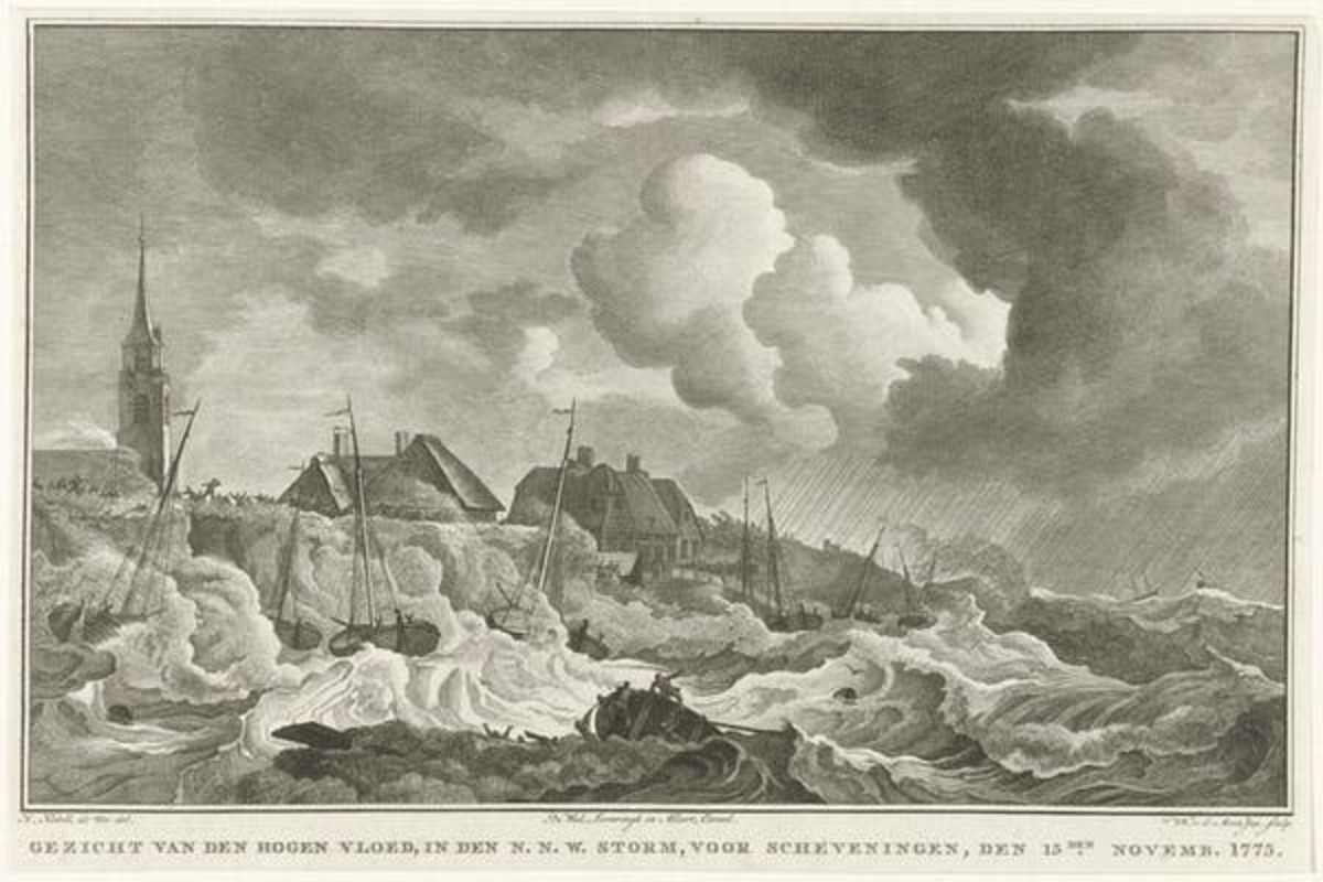 Disastrous storms, like one in 1775 in the Netherlands, were documented by engravers and other artists. Noach van der Meer II, after Hendrik Kobell