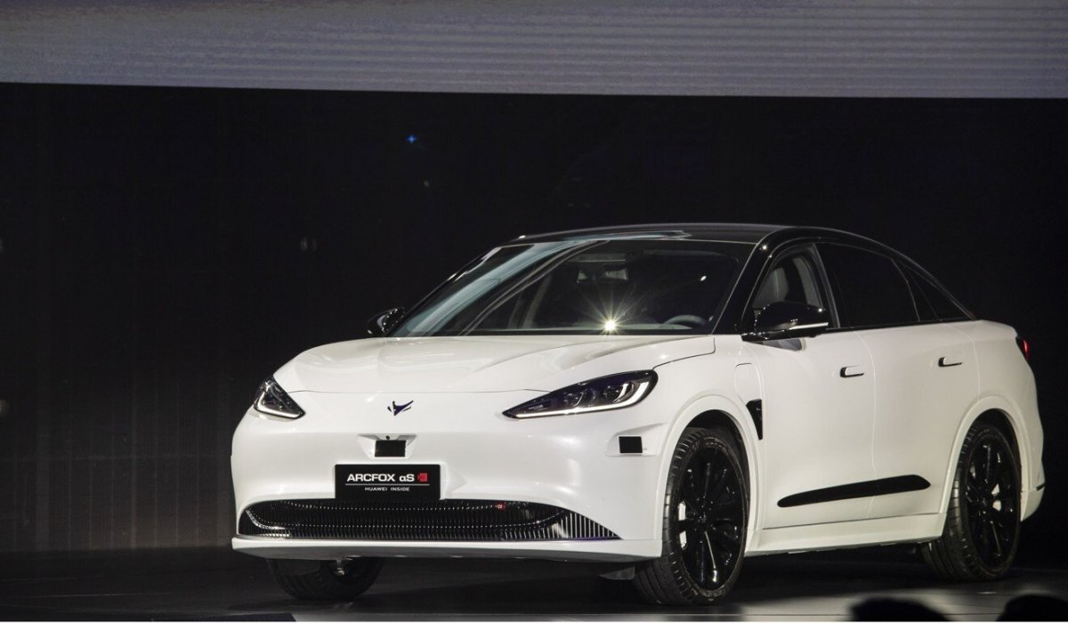 The Arcfox Alpha-S electric sedan is equipped with Huawei's HI smart car platform. Photo: Bloomberg