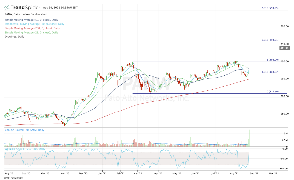 Daily chart of Palo Alto Networks stock.