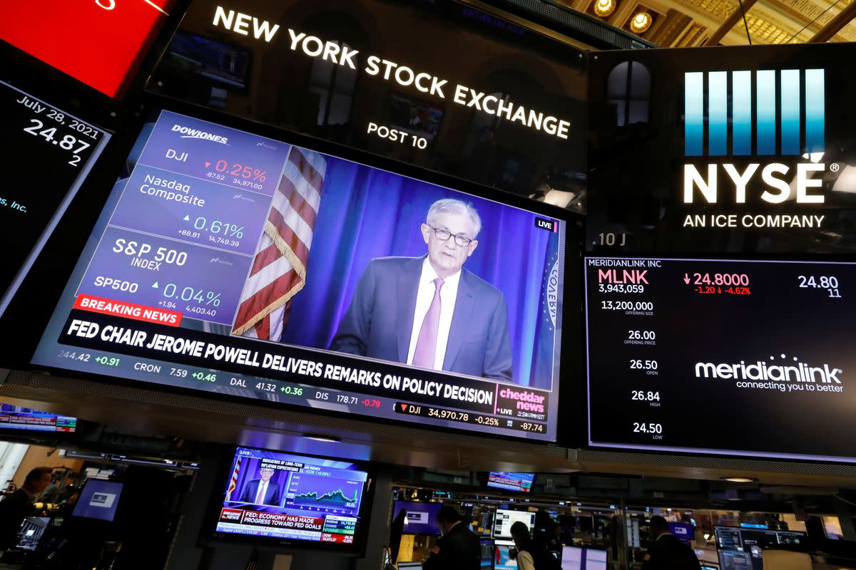 Figure 1: Federal Reserve Chair Jerome Powell in a screen display at NYSE.