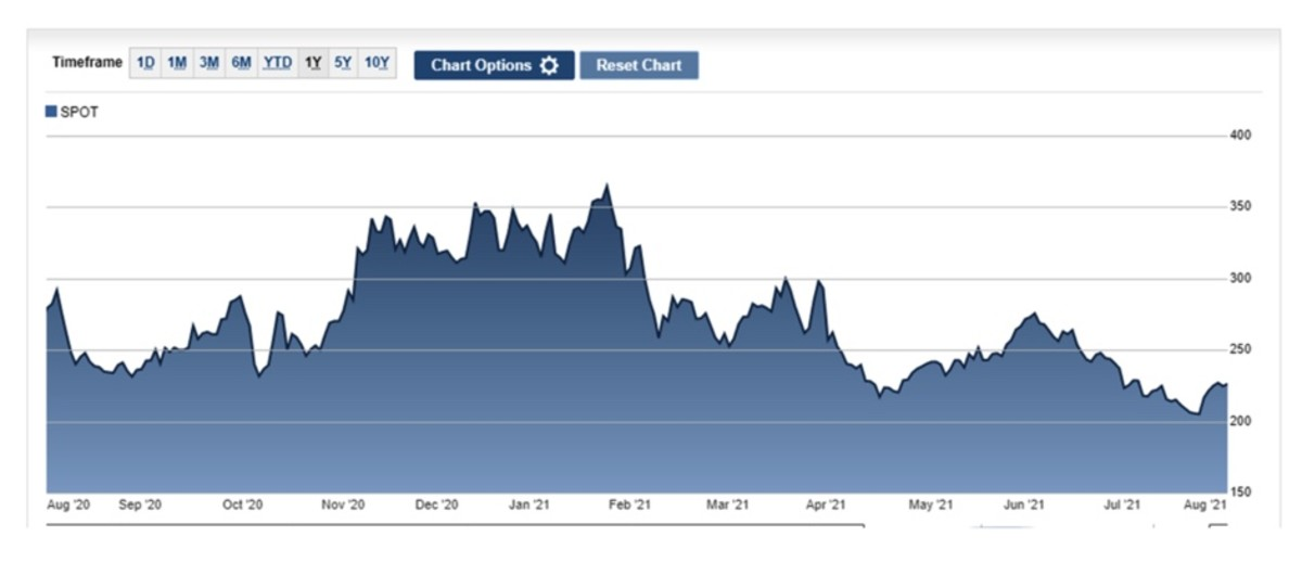 Figure 7: SPOT stock performance chart.