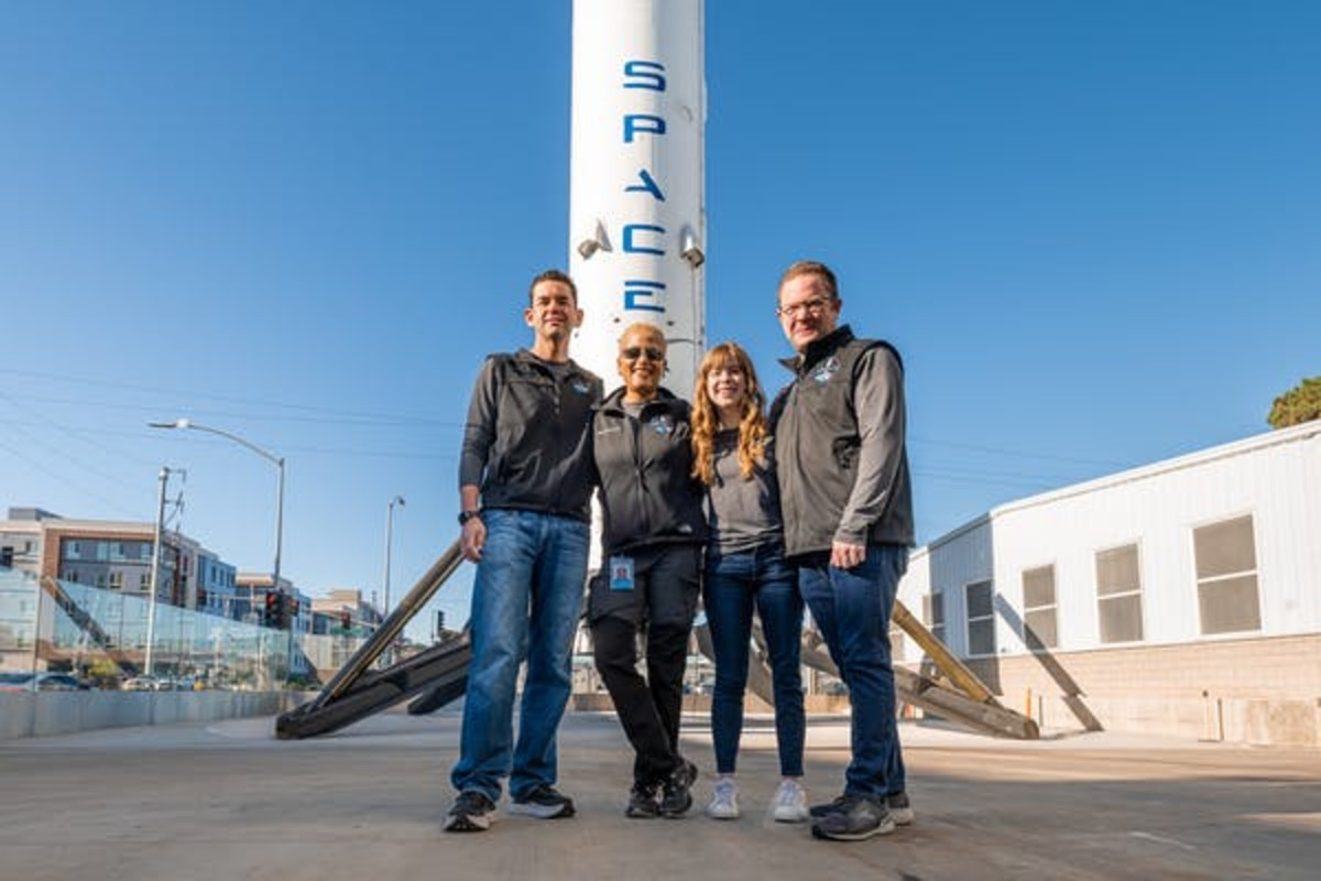 The four crew members of the Inspiration4 mission are a physician assistant, a data engineer, a geoscientist and billionaire Jared Isaacman, left. Inspiration4/John Kraus via Flickr, CC BY-NC-ND